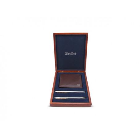 К-кт Scrikss писалка, химикалка 35 Gold Chrome, кожено портмоне в дърв. кутия