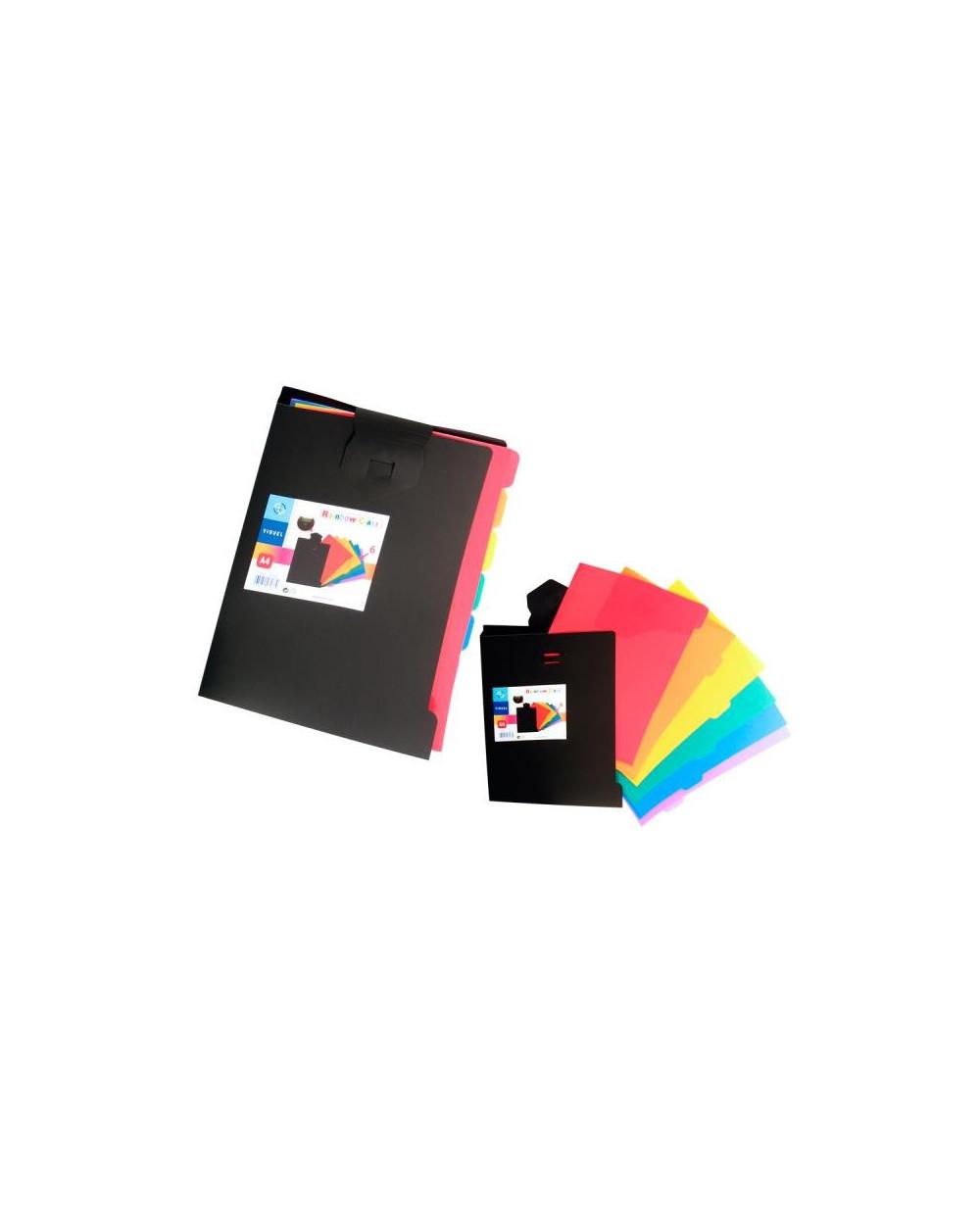 Папка VIQUEL с 6 цветни L джоба, разделителни, А4, Black РР