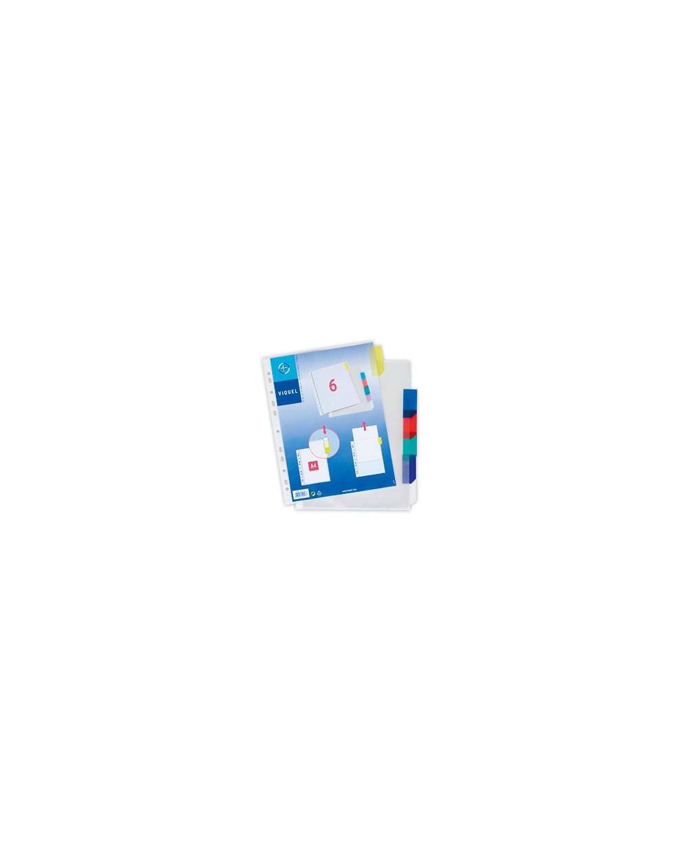 Джоб с перф. VIQUEL., разделителен, 6 цвята, А4, РР
