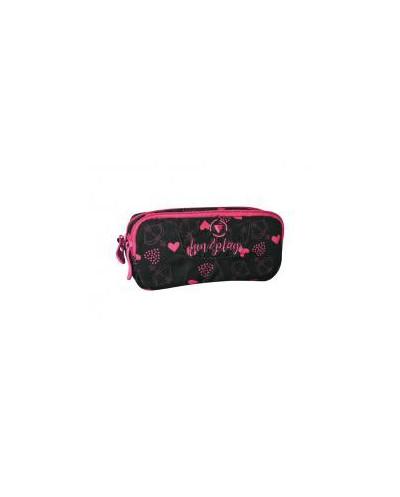 Несесер с два ципа Black&Pink, 19х6х9