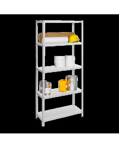 Метален стелаж BASIC 170x75x30 см, до 75 кг на рафт - бял