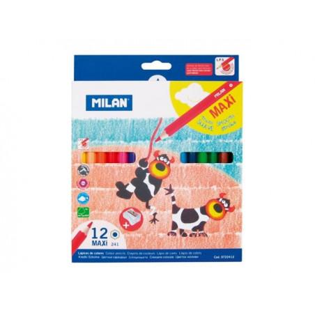 Моливи MILAN 12 цвята, MAXI, с острилка - серия 241
