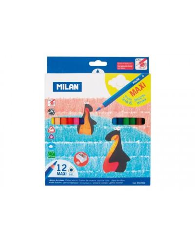 Моливи MILAN 12 цвята, MAXI, с острилка, триъг.- серия 261