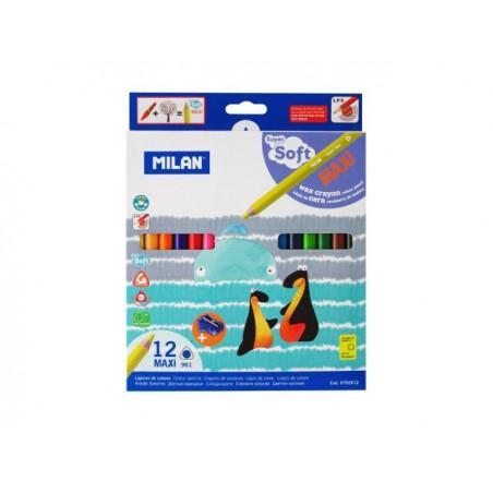 Моливи MILAN 12 цвята, MAXI Super Soft - серия 961