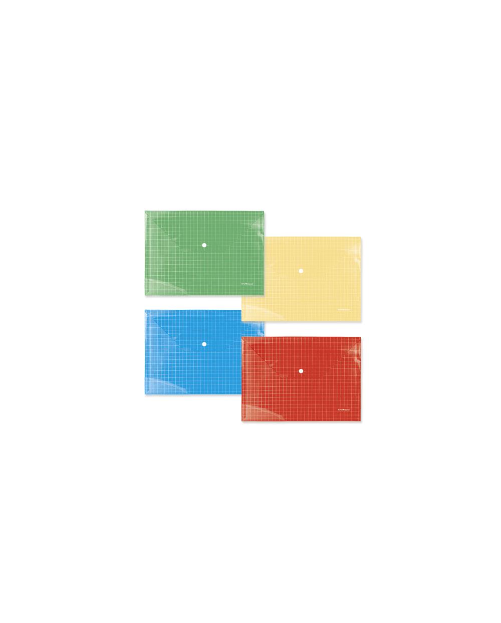 Папка А4 с копче Erich Krause, PVC, прозрачна, с диагонали, 12 броя