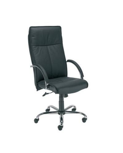 Офис стол SABIO STEEL - Черен, естествена кожа
