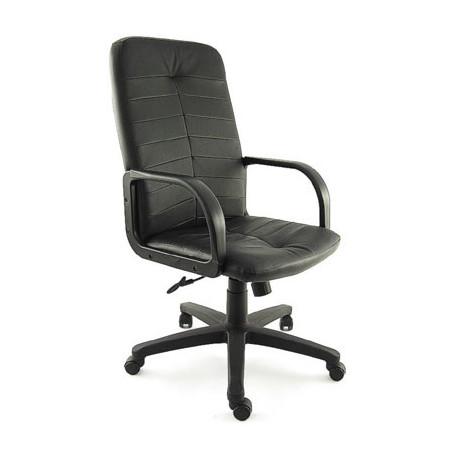Офис стол CRETOS - Черен, естествена кожа