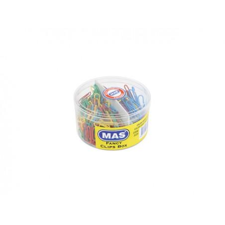 Кламери MAS цветни, 28 мм - 280 бр.и 50 мм - 80 бр.