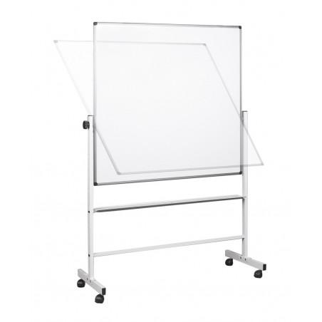 Бяла магнитна дъска Bi-Office 120 х 90 см, метална стойка на колела, двустранна